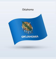 State of oklahoma flag waving form vector