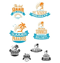 Summer paradize and holidays banners vector image