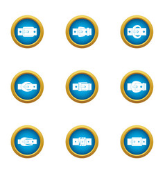 Textile buckle icons set flat style vector