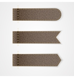 Three brown leather VIP label with gold thread vector image