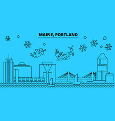 United states portland maine winter holidays vector