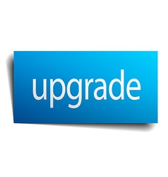 Upgrade blue paper sign isolated on white vector
