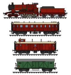 Vintage red steam train vector