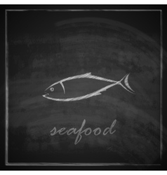 vintage with a fish on blackboard background vector image