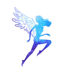 Watercolor runner angel vector