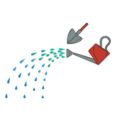Watering can and shovel vector