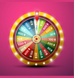wheel of fortune with jackpot on pink background vector image