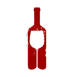 Wine bottle and glass alcoholic drink vector