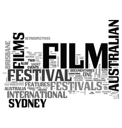 australian film festivals text word cloud concept vector image vector image