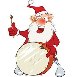 Cute Santa Claus and drum vector image vector image