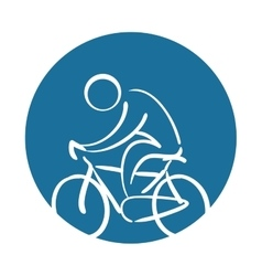 cyclist silhouette sport health icon vector image