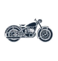 hand drawn vintage motorcycle logo design template vector image vector image