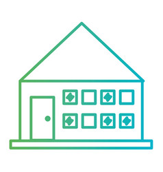 line house architecture with door and windows vector image