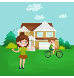 Little girl playing skipping rope outdoor vector image