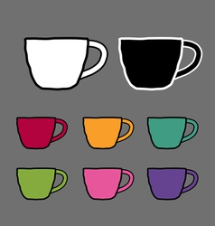 Vintage colored set mugs sketch drawing ill vector image vector image