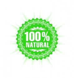 100% natural guarantee label vector image vector image