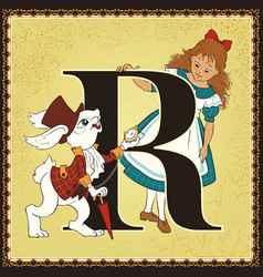 children book cartoon fairytale alphabet letter r vector image vector image