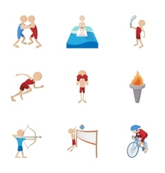 Different sport icons set cartoon style vector image vector image