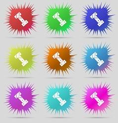 Domino icon sign a set of nine original needle vector