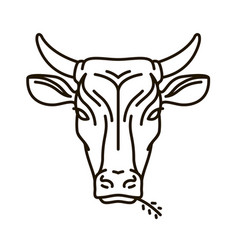 portrait of cow farm animal bull icon or logo vector image vector image