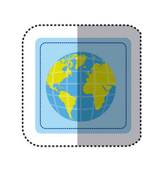 Sticker square button earth world map with vector