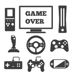 Video game entertaining icons vector image