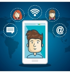 cartoon smartphone man internet connection world vector image
