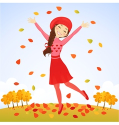 Jumping autumn girl vector image vector image