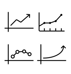 line chart graph icon on white background vector image