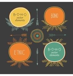 Set of creative Boho style Frames mady by Ethnic vector image