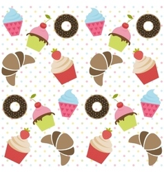 Background with cupcakes donates and croissants vector image