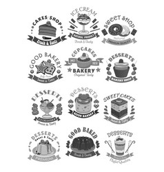 bakery shop pastry and desserts icons vector image vector image