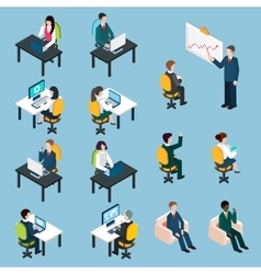 Business people isometric pictograms collection vector image
