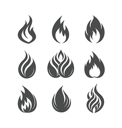 Fire icons set vector image vector image
