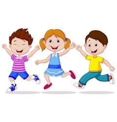 Happy children cartoon running vector image