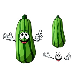 Happy green cartoon zucchini vegetable vector