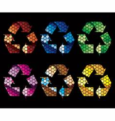 mosaic recycle icons vector image vector image
