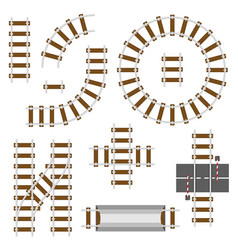 Railway structural elements top view railroad vector