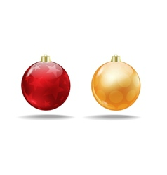 Red and orange Christmas tree balls Isolated vector image