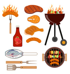 set of barbecue grill icons vector image vector image