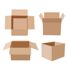 set of isometric cardboard boxes isolated on white vector image vector image