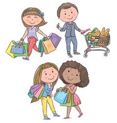 Shopping kids vector image