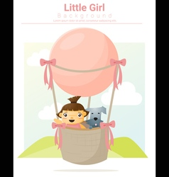 A little girl and her dog riding a hot air balloon vector