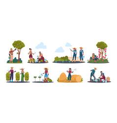 Agricultural work cartoon farmer characters vector