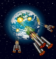 Alien spaceships attacking earth vector