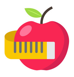 Apple with measuring tape flat icon fitness vector