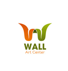 art center w letter icon vector image