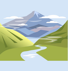 background landscape valley hills with river vector image