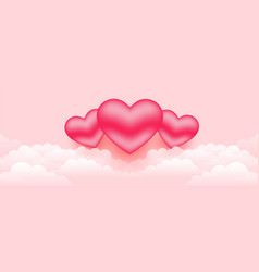 Beautiful 3d hearts over clouds banner vector