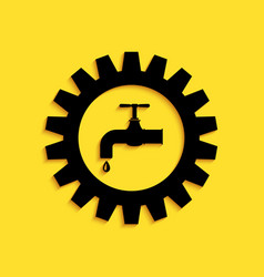 Black gearwheel with tap icon isolated on yellow vector